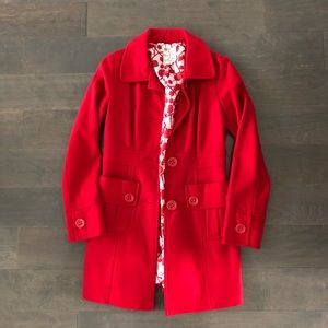 Red winter pea coat